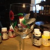 Hand Painted Hummingbird Glassware