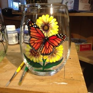 Hand Painted Monarch Butterfly Glassware