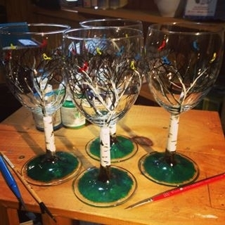 Hand Painted Birds & Birch Trees Glassware