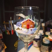 Hand Painted Log Cabin Glassware