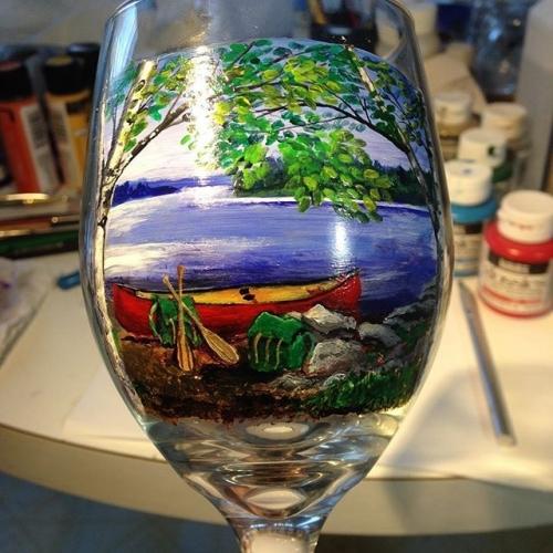 Hand Painted Canoe Scene Glassware