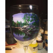 Hand Painted Lake Scene Glassware