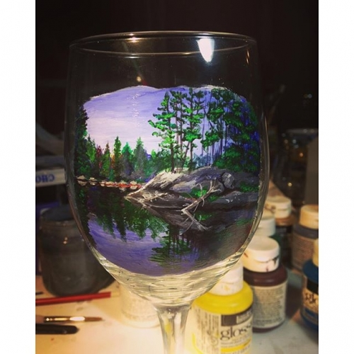 Hand Painted Lake Scene Glassware