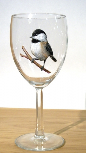 Hand Painted Chickadee Glassware