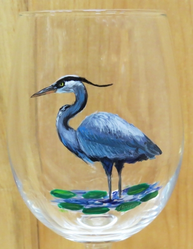 Hand Painted Blue Heron Glassware