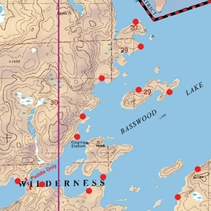 McKenzie Map 10 - Basswood, Crooked and Sarah Lakes