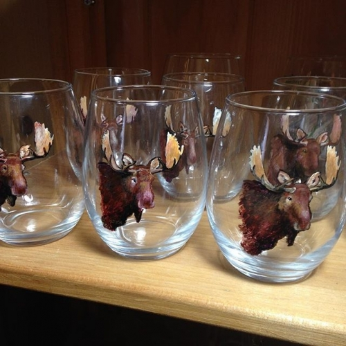 Hand Painted Moose Glassware