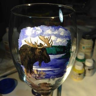 Hand Painted Moose Scene Glassware