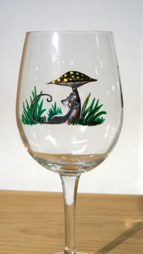 Hand Painted Mouse & Mushroom Glassware