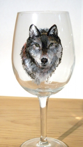 Hand Painted Wolf Glassware